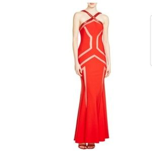 JS Collections Red Embellished Neckline Gown